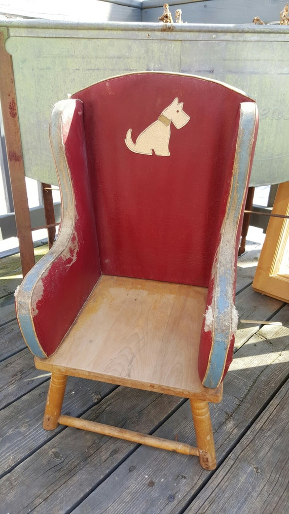 Vintage leather toddler chair antique by antfoundantiques for Toddler leather chair