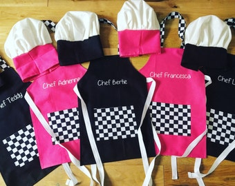 Personalised chef aprons for children and adults great for cooking, baking and crafting
