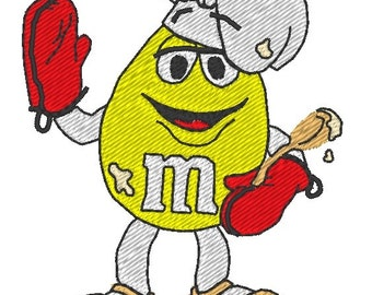 Machine Embroidery Design m and ms chef - Instant Digital Download