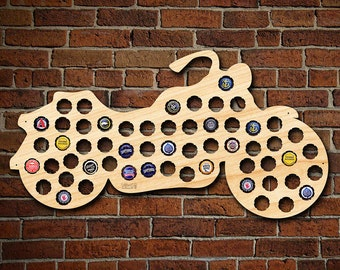 Motorcycle Gifts Beer Cap Map - Beer Art - Vintage Harley Indian Chopper - Best Idea for Dad and Brother and Boyfriend and Beer Lovers