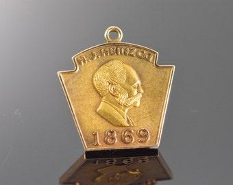 10K HJ Heinz Co 1869 Shield Pendant Yellow Gold