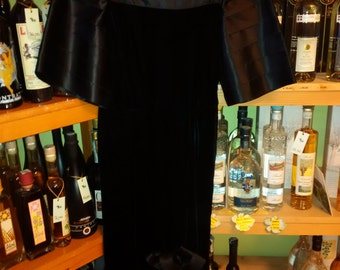 vintage black velvet and satin dress anni 80