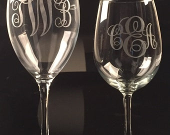 Custom etched monogram wine glass