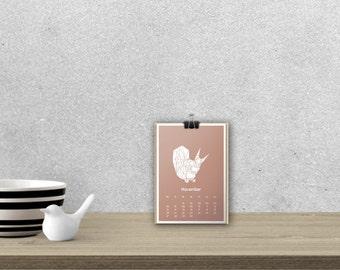 Desk Calendar 'WILD ANIMALS', planar // A5