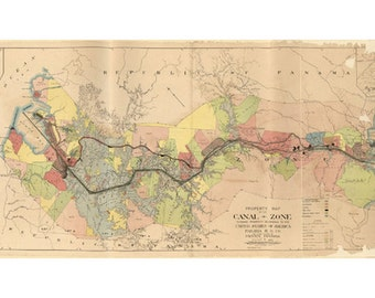 Map - Panama Canal Zone ownership, circa 1912 - digital download