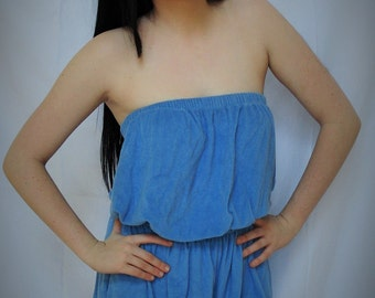 1980's Baby blue terry cloth romper