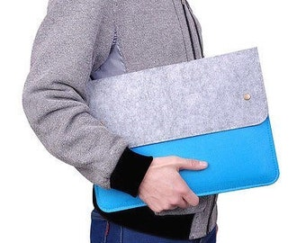 Two Tone Felt Laptop Case with Pocket Eco-Friendly USA Made
