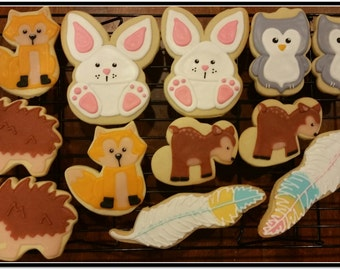 Woodland Creatures Cut Out Cookies - 1 Dozen