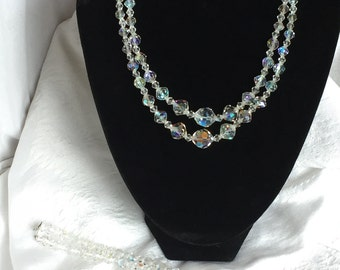 AB Crystal faceted double strand necklace and matching bracelet