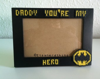 daddy youre my hero batman inspired photo frame perfect for fathers day