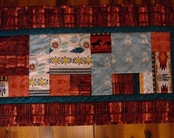 HANDMADE SOUTHWEST TABLE Runner With Wild Horses And Dream Catchers