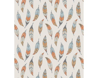 Crib Sheets-To Catch a Dream-Lewis & Irene-Blue-Feathers-Modern-Gender Neutral-Fitted-Toddler Bed Sheet-Mini Crib Sheet
