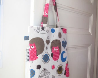 Tote bag Kiwon - cloth designs pink owl, flowers and hearts bag