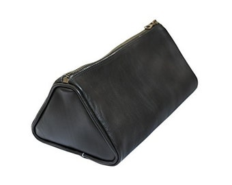 Soft Leather Travel Dopp Kit for Toiletries Handmade by Hide & Drink - Black
