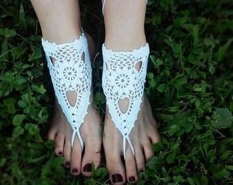 Crochet Barefoot Sandals/ Bridal Barefoot Sandals  - Pure Blossom