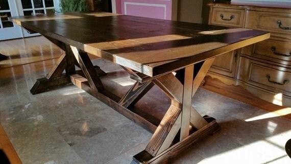 Farmhouse Dining Table W Trestle Legs