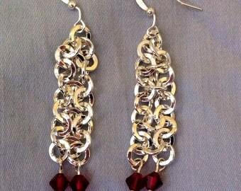 Silver chainmail drape earrings
