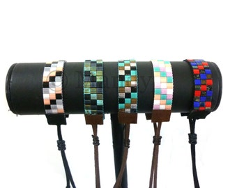 Miyuki Tila woven bracelet finished with ultra suede black brown ibiza bohemian style bold summer colors native