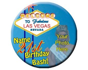 "3"" Customized Las Vegas Birthday Bash Pinback Photo Button, Custom Photo Badge"