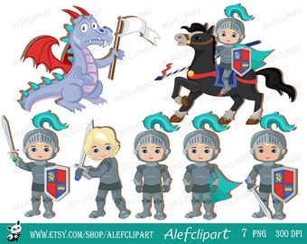Knight and Dragon. Clipart Set, Medieval.
