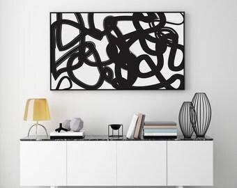 Black Paint Brush, Abstract Art, Paint Brush Print, Black Poster, Minimalist Poster, Paint Art Print, Modern Wall Art, Abstract Wall Art,