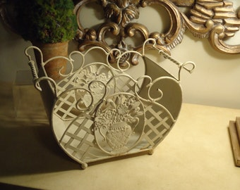 Vintage,    Shabby Chic DECOR  White Metal Basket,  Perfect for Indoor and Outdoor