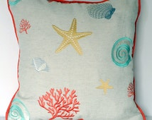 nautical beach house coral embroidered starfish and seashell pillow for sofa chair or couch