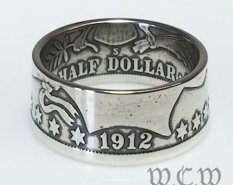 Silver Barber Half Dollar 1892 - 1915 Coin Ring - United States