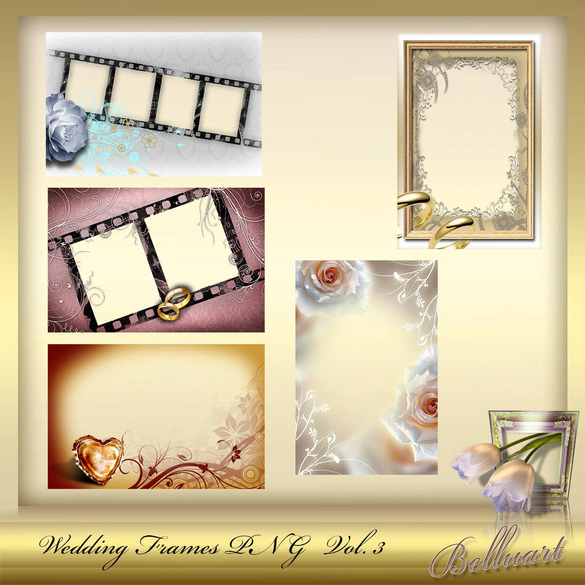 Png frame wedding set 3 wedding day photo background of for Frame per foto