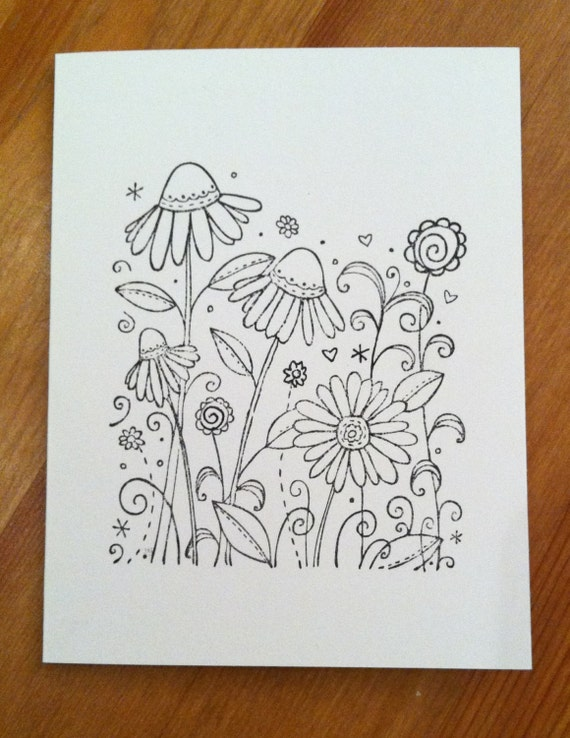 Prettyfolio whimsical garden hand stamped greeting cards set of 8adult coloring m4hsunfo