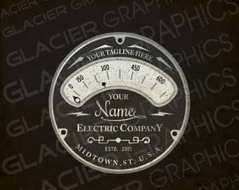 Custom Electrician Logo, Electrical Logo, Lighting Logo, Sound System Logo, Low Voltage Steampunk Voltmeter Custom Logo Design Personalized