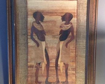 Vintage African Art / Original African Wall Art / African Mosaic / Mix Media / African Painting