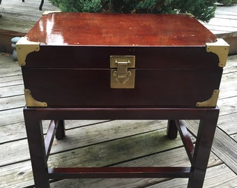Vintage Chest or Box on Stand / Accent Table Box on Stand / Side Table / Lidded Box on Stand with Brass Finishes / Asian Influence