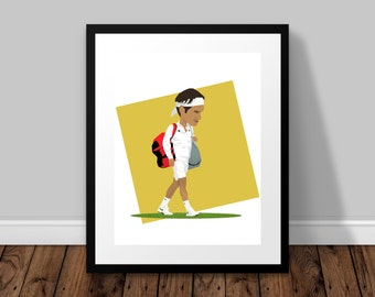 Roger Federer Illustrated Poster Print | A6 A5 A4 A3