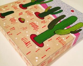 "Cactus Painting on Wood 5""x5"""