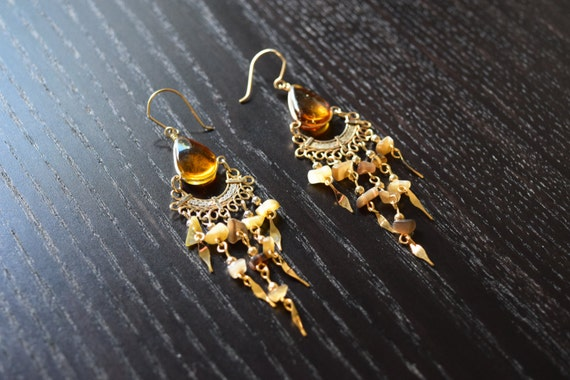 unique peruvian gold earrings chandelier by sassyandcool