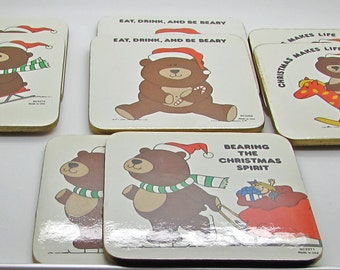 Vintage Christmas Coasters Teddy Bear Made In USA Set of 8 Eat Drink Be Beary Have a Beary Merry Christmas