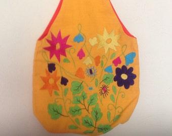 1970's  Embroidered Garden Handbag