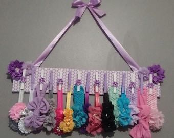 Medium Lavender & White Jeweled Flower Clothes Pin Headband/Clip/Barrette Hanging Holder
