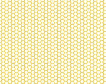 SALE ! Honeycomb Dot from Riley Blake Designs  > C680-50 YELLOW < White Honeycomb Dot On Yellow < Fabric by the Yard