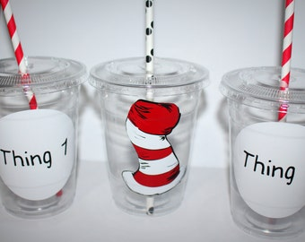 Cat in the hat party cups//cat in the hat party, cat in the hat party supply, custom party cups, set of 12