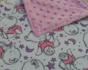 Very Soft Minky Pink Bear Baby Blanket