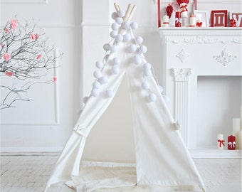 White canvas teepee, childrens teepee, kids teepee, play tent, play house, gift for kids, baby girl, baby boy, tipi, teepee tent