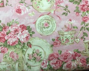 Pink teacup window valance