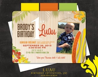 LUAU SURFBOARDS . birthday invitation