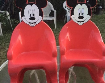 2 vintage Syroco Mickey Mouse chairs