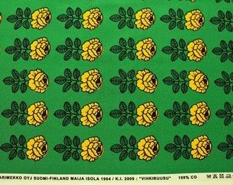 Marimekko fabric, green/yellow, Vihkiruusu 145x50cm by Maija Isola