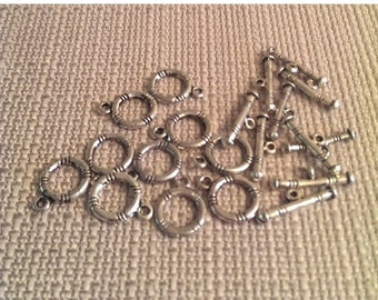 On Sale 10 sets of small Silver Toggle Clasps round
