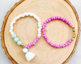 Baby Bracelet, Baby Jewelry, Tassel Bracelet, Baby Shower Gift, Blessing Bracelet, Baby Gift, Baby Bracelet--MINT, PURPLE & WHITE