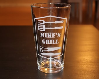 Personalization Pint Cup -Grill Utensils -Father's Day Gift